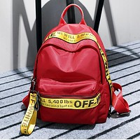 Off White New Fashion More Letter Print Leisure Mini Bag Backpack Bag Women Black