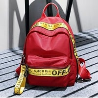 Off White New Fashion More Letter Print Leisure Mini Bag Backpack Bag Women Red
