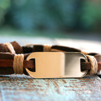 Valentines Day Gifts for Him, Men's Bracelet, Men's Leather Bracelet, Men's Engraved Bracelet, Men's Stainless Jewelry,