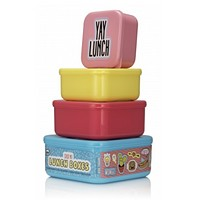 Stackable Colorful Lunch Boxes in Hangry and Yay Lunch Pack of 4