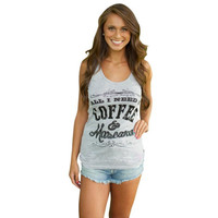 """Gray """"All I need is coffee"""" Letter Print Sleeveless Shirt"""