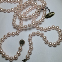 54 Inch Pink Hand Knotted Faux Pearl Strand Necklace