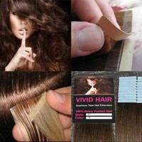 """20 Pcs 18"""" inches Remy Seamless Tape Skin weft Human Hair Extensions Color # 4 Medium Brown"""