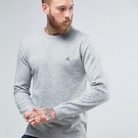 ASOS Lambswool Rich Lightweight Jumper with Embroidered Logo at asos.com
