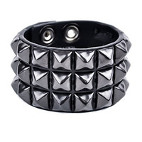 "Black Pyramid Stud Leather Bracelet 1-3/4"" Wide Wristband"
