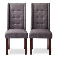 Charlie Modern Wingback Pin Tuck Dining Chair (Set of 2)