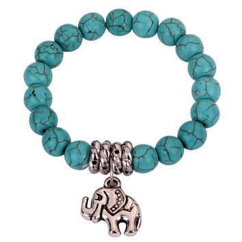 Boho turquoise beads with elephant bracelet