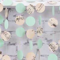 Mint Wedding Garland - Sheet Music Paper Garland - Vintage Wedding Decoration - Mint Green Circle Garland
