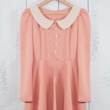 Schoolhouse Manner Long Sleeve Contrast Peter Pan Collar Dress in Pink/Ivory | Sincerely Sweet Boutique