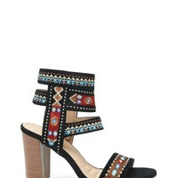 Embroidered Ankle-Strap Heels