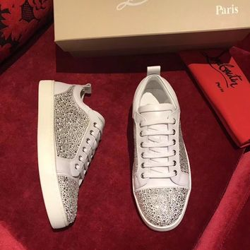 Best Online Sale Christian Louboutin CL Louis Junior Strass Men's Flat White Shoes
