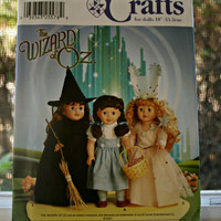 Wizard of Oz American Girl Doll Pattern Simplicity 7091 UNCUT Sewing Pattern Dorothy Wicked Witch Glinda the Good Witch Costumes for Doll