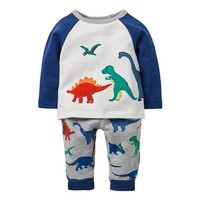 Jumping Meters Tops+Pants 2pcs Boy Clothing Set Dino Applique Children Sports Suits Kids Fashion Autumn 18 Baby Clothes Outfits