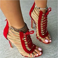 Colorful Caged Strappy Studded Open Toe High Heel Shoes