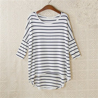 New Fashion Loose T-shirt Large Size O-neck 3/4 Sleeve tShirt Women Stripped Top 70830 SM6