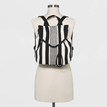 Striped Pointed Flap Backpack - Universal Thread™ Black/White