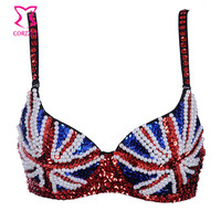 Charming Beads and Sequined Underwear Women Bra Pus Up Studded British Flag Pattern Bralette Burlesque Club Bras Sostenes Mujer