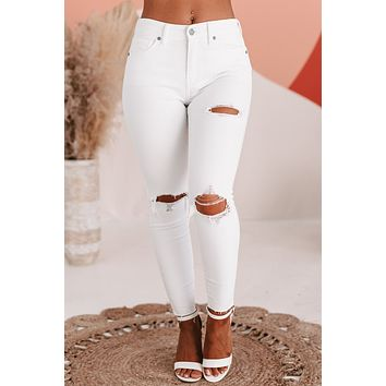"""Frost Yourself"" Distressed High-Rise Crop Skinny Jeans (White Winter)"
