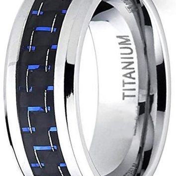 CERTIFIED  8mm Men's Titanium Ring Wedding Band Black and Blue Carbon Fiber Inlay