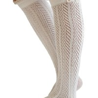 The Original Button Boot Socks with Lace Trim Boutique Socks by Modern Boho Ivory