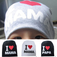 Cute Fashion I LOVE MAMA I LOVE PAPA Toddler Kids Baby Boy Girl Infant Cotton Soft Beanie Hat Cap = 1930023684