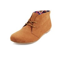 Sueded Lace-Up Ankle Bootie: Charlotte Russe