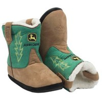 Montana Silversmiths® Cowboy Kickers™ Adult John Deere Brown w/ Green Cowboy Boot Slippers