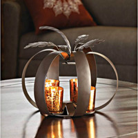 Halloween Home Decor Candle Holder Wrought Iron Twisted Pumpkin Shaped Fall