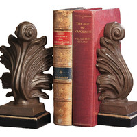 Dessau Home Acanthus Bookends Iron Gold/Bronze Finish - Hc337