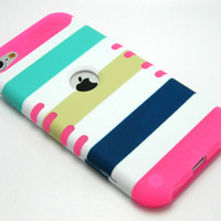 iPod Touch 5 5th Gen Rocker Hybrid Pink Skin+Blue Green Stripes Hard Cover Case