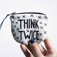 THINK TWICE/ fabric money wallet with hand printed money saving print