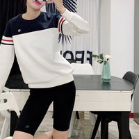 """Flia"" Unisex Contrast Color All-match Stripe Fashion Letter Logo Couple Long Sleeve Sweater Tops"
