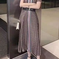 """TB"" Woman's Leisure Fashion Letter Printing Short Sleeve Elastic Band Long Skirt Two-Piece Set Casual Wear"