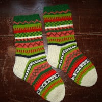 Hand Knit 100% Natural Sheep Wool Estonian Colorful Pattern Warm Socks Lovely Unique Gift for Men or Women Unisex Knitted Piece of Art