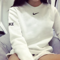 Ulzzang Harajuku Loose Lovers Embroidered Cashmere Hedging Sweater T shirt