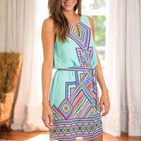 Aztec Valley Dress, Aqua