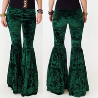 Green Crushed Velvet Super Flares