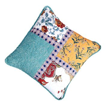 Tache Cotton Patchwork Blue Yellow Old World Hummingbirds Garden Cushion Covers 2-Pieces (JHW-936)