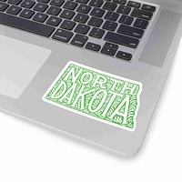 North Dakota State Shape Sticker Decal - Light Green