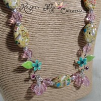 Beautiful Spring Flowers 3 Piece Necklace Set