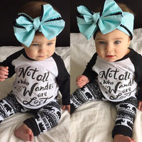 Newborn Baby Kids Boys Girls Clothes Set Stars T-shirt Tops Cotton Long Sleeve + Pants Outfits Set 0-24M