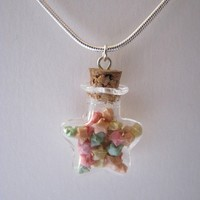 Citrus  Tiny Origami Stars Vial Necklace  Origami by PaperPeaches