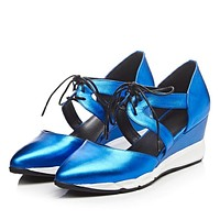 Pointed Toe Genuine Leather Lace Up Platform Wedge Sneakers 4799