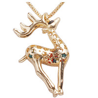 Fashion Gold Deer Necklace Animal Shaped Chain Necklace