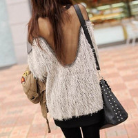 Sheer Mesh Back Fuzzy Sweater-Last One