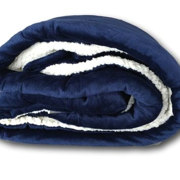 Tache Dark Navy Blue Sherpa Winter Night Micro Fleece Throw Blanket (SMF5060BL)