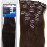 18'' 7pcs Remy Clips in Human Hair Extensions 04 Medium Brown 70g for Women's Beauty Hairsalon in Fashion
