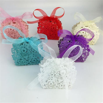 20pcs set Romantic Wedding favors Decor Butterfly Candy Gift Boxes Wedding Party Candy Box with Ribbon New C0