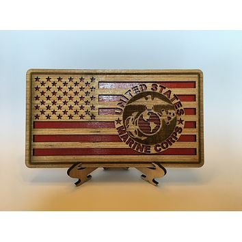 Small American Flag, US Marines Military desk flag, Engraved Wood Painted Rustic Style Flag