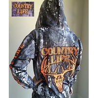 Country Life Outfitters Camo Realtree Deer Skull Head Full Zip Unisex Hoodie
